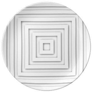 Plato De Porcelana Casilla blanca geométrica