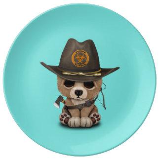 Plato De Porcelana Cazador del zombi de Cub de oso del bebé