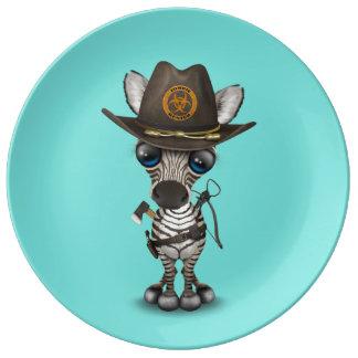 Plato De Porcelana Cazador del zombi de la cebra del bebé