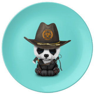 Plato De Porcelana Cazador del zombi del oso de panda del bebé