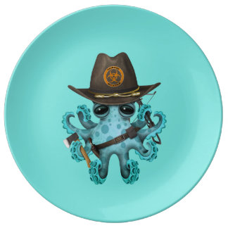 Plato De Porcelana Cazador del zombi del pulpo del bebé azul