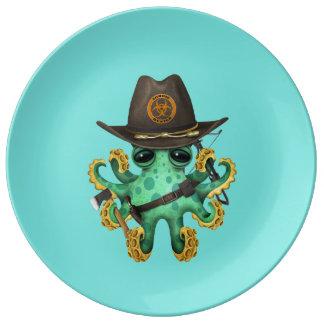 Plato De Porcelana Cazador verde del zombi del pulpo del bebé