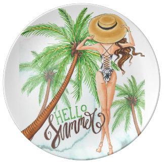 Plato De Porcelana Chica en verano del ejemplo de la moda del gorra