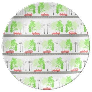 Plato De Porcelana Coches y árboles