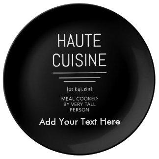 Plato De Porcelana Cocina francesa divertida de Haute del cocinero