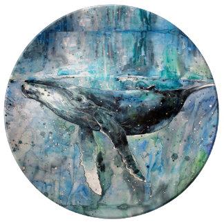 Plato De Porcelana Colección de la ballena azul