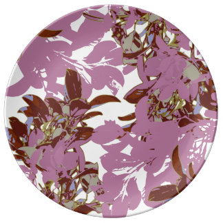 Plato De Porcelana Collage floral del MILKSHAKE de los CHICAS