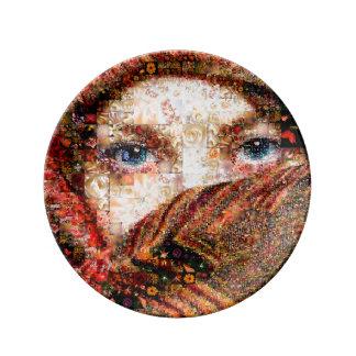 Plato De Porcelana Collage-ojo-chica beduino del chica-ojo del