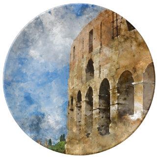 Plato De Porcelana Colosseum antiguo en Roma Italia