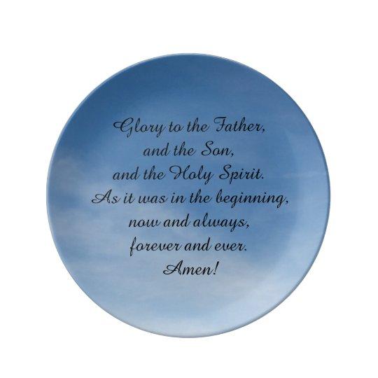 Plato de porcelana , con oración en inglés