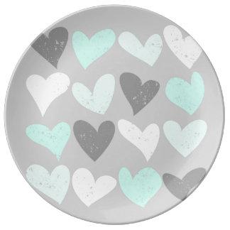 Plato De Porcelana Corazones grises del amor de la menta linda