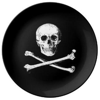 Plato De Porcelana Cráneo y placa decorativa de la bandera pirata