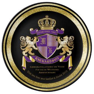 Plato De Porcelana Cree su propio emblema del león del monograma del