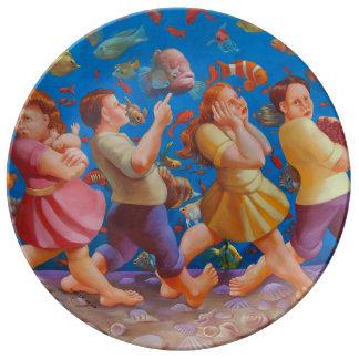 Plato De Porcelana Cruzar la placa de la porcelana del Mar Rojo