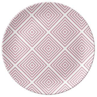 Plato De Porcelana Cuadrados geométricos rosados