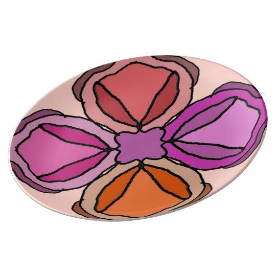 Plato De Porcelana Cuatro rosas