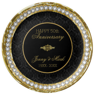 Plato De Porcelana Diamantes blancos y aniversario negro del damasco