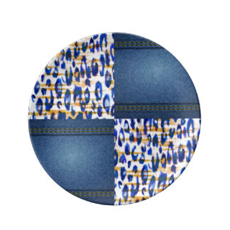 Plato De Porcelana Diseño animal azul de la impresión del modelo de