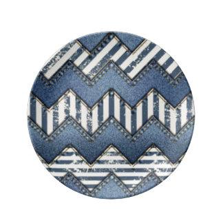 Plato De Porcelana Diseño azul de la impresión del modelo de Chevron