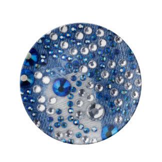 Plato De Porcelana Diseño azul del modelo de Jean de los diamantes
