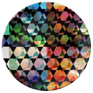 Plato De Porcelana Diseño gráfico del hexágono abstracto