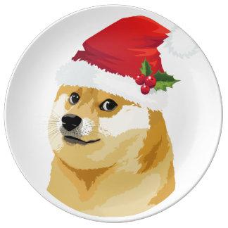 Plato De Porcelana Dux del navidad - dux de santa - perro del navidad