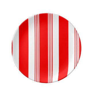 Plato De Porcelana El caramelo rayó la placa de la porcelana - blanco
