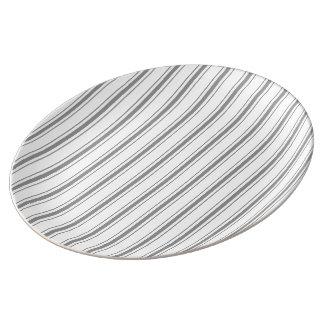Plato De Porcelana El hacer tictac blanco del colchón de los grises