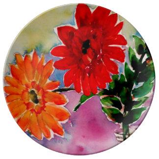 Plato De Porcelana El jardín florece los regalos del coleccionable de