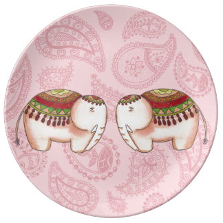 Plato De Porcelana Elefantes en Paisley rosada