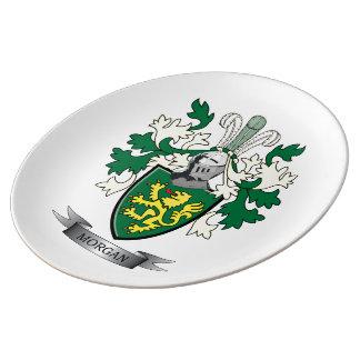 Plato De Porcelana Escudo de armas del escudo de la familia de Morgan
