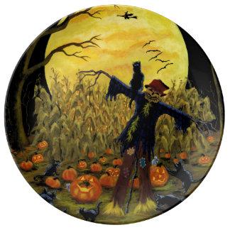 Plato De Porcelana Espantapájaros de Halloween en la placa del fiesta