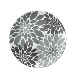 Plato De Porcelana Estampado de flores de los crisantemos del gris de