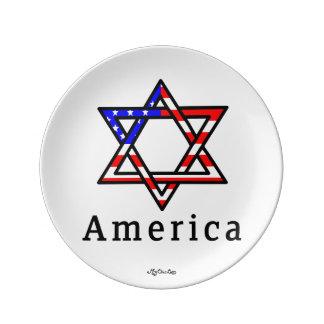 Plato De Porcelana ¡Estrella de América del judaísmo de David! 8,5