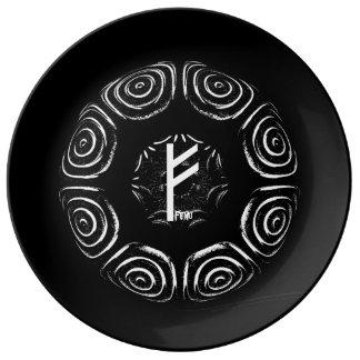 Plato De Porcelana ☼Fehu - runa de la suerte y de Prosperity☼