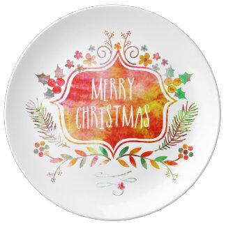 Plato De Porcelana Felices Navidad retras de la acuarela