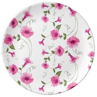 Plato De Porcelana Flores rosadas