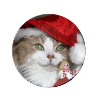 Plato De Porcelana Gato de Santa - gato del navidad - gatitos lindos
