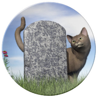 Plato De Porcelana Gato triste cerca de la piedra sepulcral