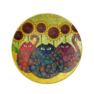 Plato De Porcelana Gatos y placa de la porcelana de los girasoles