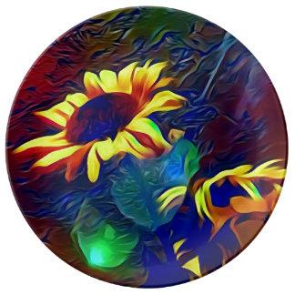 Plato De Porcelana Girasoles artísticos vibrantes bonitos