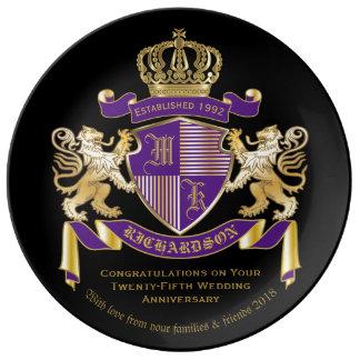 Plato De Porcelana Haga su propio emblema del león del monograma del