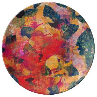 Plato De Porcelana Hojas caidas - estampado de flores decorativo
