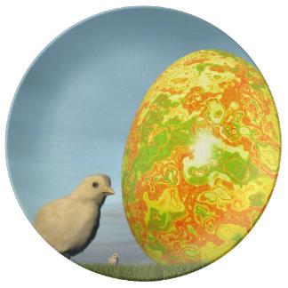 Plato De Porcelana Huevo y polluelos de Pascua - 3D rinden