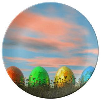 Plato De Porcelana Huevos coloridos para pascua - 3D rinden