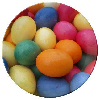 Plato De Porcelana Huevos de Pascua coloreados multi festivos