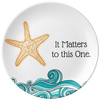 Plato De Porcelana Importa a esta una estrella de mar