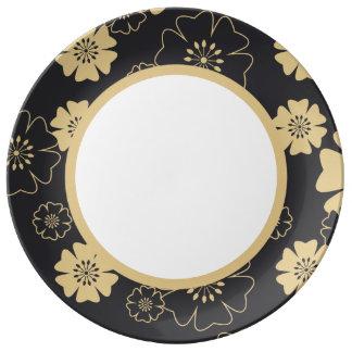Plato De Porcelana Japón. Flores florales amarillas
