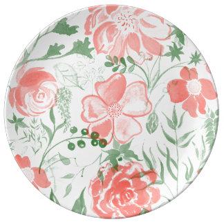 Plato De Porcelana La acuarela florece tonos en colores pastel color