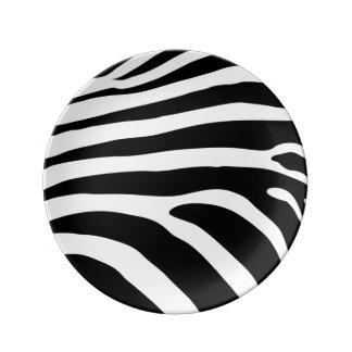 Plato De Porcelana La cebra blanco y negro raya el estampado de